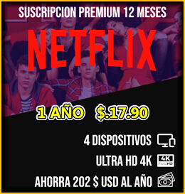 Netflix Premium un año por 17.90 dolares